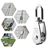 Heyous 2pcs M20 Stainless Steel Single Pulley Block