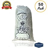 CrystalClear 10 lb Ice Bags With Drawstring. 50 Pack Reusable Plastic ice bags for Ice machine. (10 lb 50 pack)