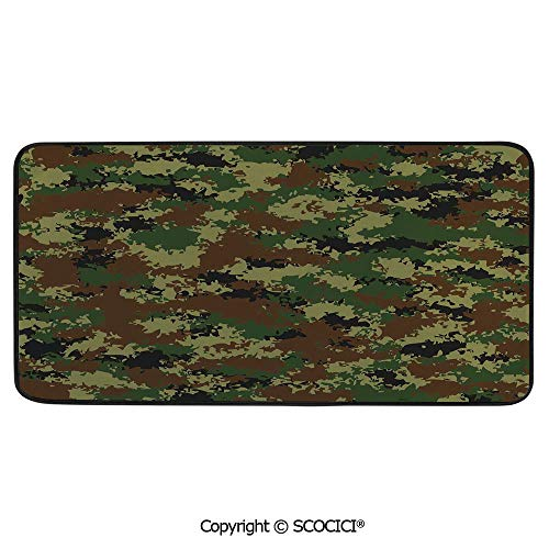 Print Door Mat, Indoor Floor Area Carpet Compatible Bedroom,Living Room,Children, Playroom, Bathroom,Camo,Grunge Graphic Camouflage Summer Theme Armed Forces - Armed Uniforms Forces