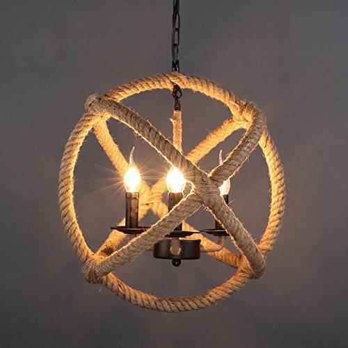 DEN Nordic wrought iron staircase coffee bar bar chandelier,Ordinary bulb,35CM by DEN
