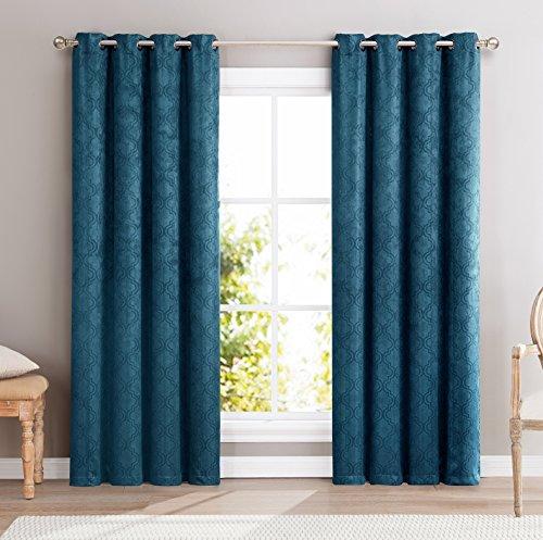 HLC.ME Redmont Lattice Wide-Width Thermal Blackout Grommet Curtain Panel - 63