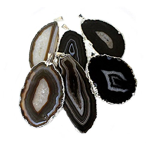 1 Black/Brown Agate Druzy Pendant Silver Plated Rock Paradise Exclusive COA AM15B27-11 - Agate Slice Pendant Necklace