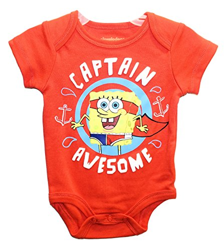 [Nickelodeon Spongebob Squarepants CAPTAIN AWESOME Baby Boys Bodysuit Outfit (0-3 Months)] (Spongebob Outfit)