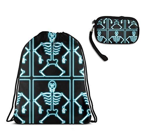 Halloween Skeleton Blue Drawstring Backpack Pouch School Bags, Portable Coin Change Wallet Cellphone Purse Handbag 2 Pack Set for Men Women Kids Boys Girls]()