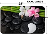 Liili Large Table Mat Non-Slip Natural Rubber Desk Pads IMAGE ID 32255082 spa setting of white pink hibiscus flowers symbol Yin Yang and natural bamboo on zen basa
