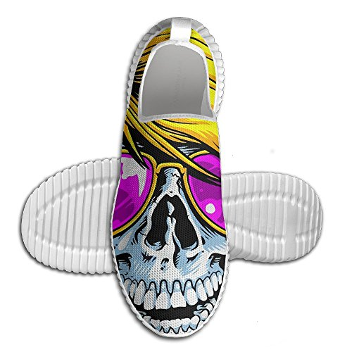 Fashion Skull With Sunglasses Unisex Breathable Athletic Lip-On Sneakers Casual Lightweight Running - Sunglasses On White Guys