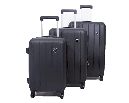 abd9f6747af6 Set of 3 Light Weight Hardshell 4 Wheel Travel Trolley Suitcase Luggage Set  Holdall Case Spinner (Black)  Amazon.co.uk  Luggage