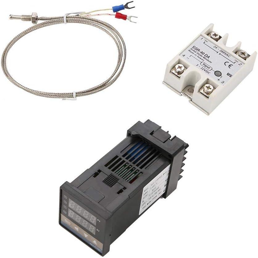 Termostato inteligente digital LED PID Kits de controlador de temperatura de alarma REX-C100 AC110V-240V 0 ℃ ~ 1200 ℃
