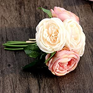 DEESEE(TM) NewArtificial Rose Silk Flowers 5 Flower Head Leaf Garden Decor DIY pink 98