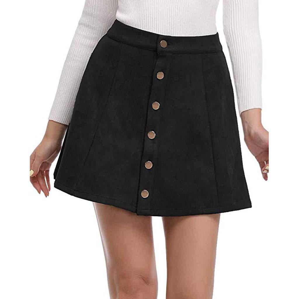 Eduavar Womens Skirt Dresses Women's Faux Suedette Button Closure Plain A-Line Mini Skirt Dress Midi for Women Black