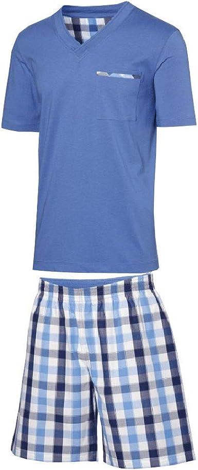 Set  Herren  Pyjama  Schlafanzug  Langarm Grau Blau Karo XL 56-58