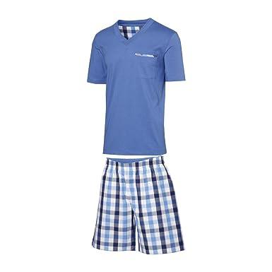 4a954804e7 Royal Class Herren Pyjama Schlafanzug Kurz Herren Pyjama Kurz Herren Shorty  Schlafanzug Reine Baumwolle: Amazon.de: Bekleidung