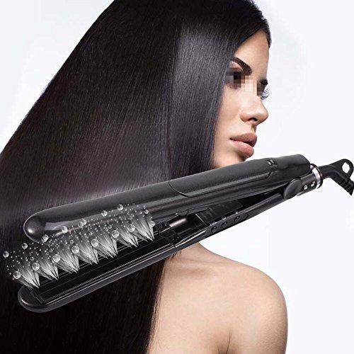 Straightening Irons, 2IN1 Hair Straightener Flat Iron Ceramic Tourmaline Curler Nano Steam Heating Plate(Black)