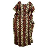 Women's Long Kaftan Orange Floral Print Kimono Hippie Caftan House Dress One Size… …