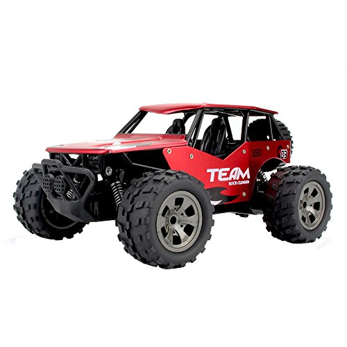 Littleice RC Truck 1:18 2.4GH リモートコントロール 2WD 高速レーシングカー 合金ケース トラック オフロードバギーおもちゃ 23 x 15 x 11cm レッド RC Truck