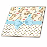 3dRose ct_282905_2 Cute Resting Sloths with Slow Down Words Over Hearts with Bow Ceramic Tiles
