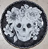 222 Fifth Halloween Marbella Skull 8-1/2'' Round Salad Plates - Set of 4