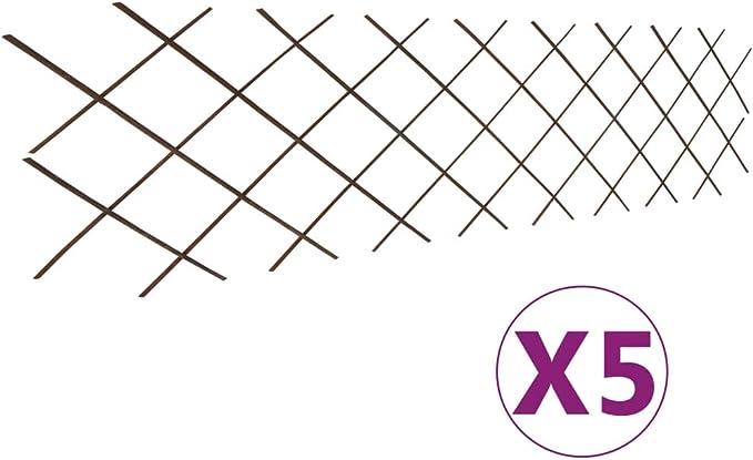 5x Rankgitter 90x180cm Weide Spalier Rankhilfe Gitter Pflanzengitter Garten