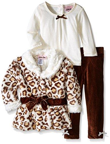 (Little Lass Baby-Girls Infant 3 Piece Faux Fur Jacket Set Velvet Bow Cheetah, Brown, 18)