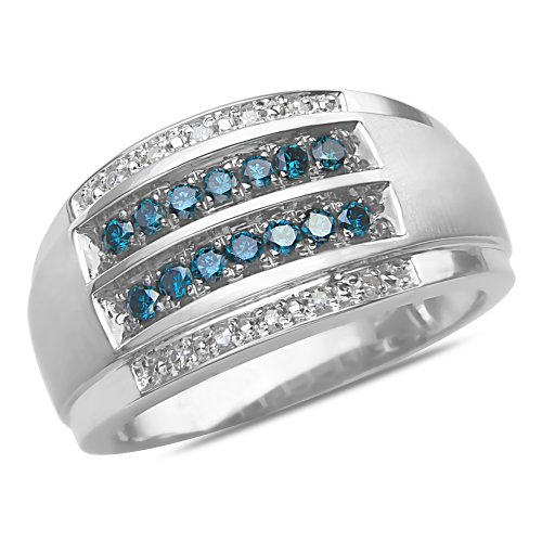 Men's 1/2CT Blue and White Diamond Wedding Band in 10k White Gold with a Cage Back