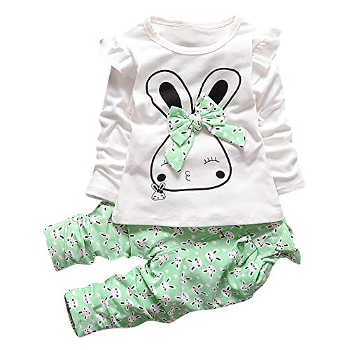 Hattfart Baby Girl Clothes Infant Outfits Set 2 Pieces Long Sleeved Cartoon Bunny T Shirt Tops + Pants Clothes Set