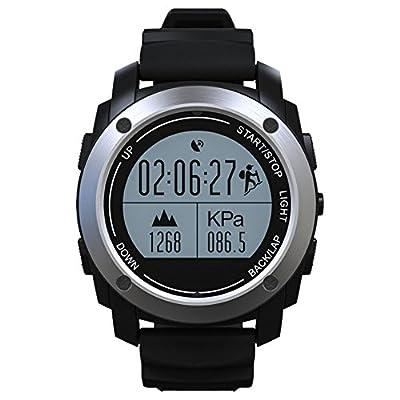 Fonction GPS Smart montre de sport, la vie étanche Smart montre de sport, fitness tracker podomètre Compteur de calories moniteur de sommeil Smart montre de sport Noir