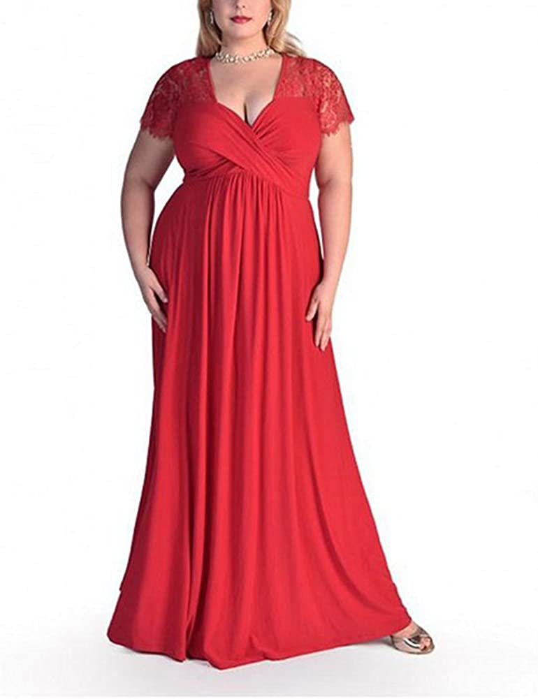TALLA (EU64-66)6XL. Lover-Beauty Vestido Largo Mujer Talla Grande Moda Bolsillo Top Falda para Fiesta Verano Manga Corta Floral Estampada Suleto Moda de Ropa Elegante Maxi Rojo (EU64-66)6XL