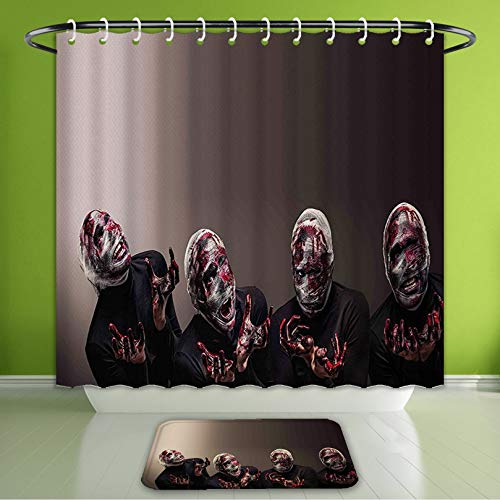 Waterproof Shower Curtain and Bath Rug Set Wizard Bloody Face with Bandage of Screaming Zombie Looks Scary Spooky Dark Pattern Intimidatin Bath Curtain and Doormat Suit for Bathroom 60