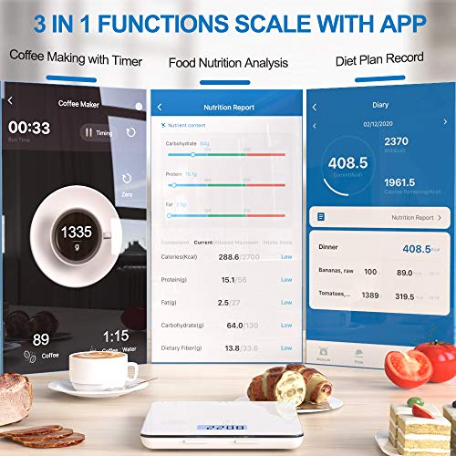 RENPHO Digital Food Scale, Kitchen Scale for Baking, Cooking and Coffee with Nutritional Calculator for Keto, Macro, Calorie and Weight Loss with Smartphone App, White 2