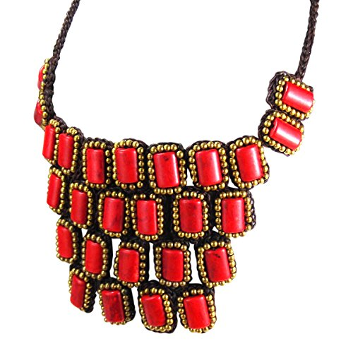 Wonderful Red Coral Necklace (Mosaic Droplets Reconstructed Red Coral Statement Brass Necklace)