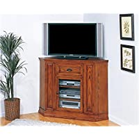 Bowery Hill 46 Corner TV Stand in Medium Oak
