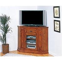 Bowery Hill 46 Corner TV Stand in Medium Oak
