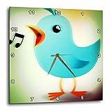 3dRose dpp_53549_2 Blue Singing Bird-Cartoon Art-Animals-Wall Clock, 13 by 13-Inch