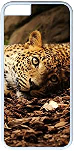 Leopard Lying Ground Apple iPhone 6 Plus Case, iPhone 6 Plus 5.5 inch Cases PC White Hard Shell Cover Skin Cases