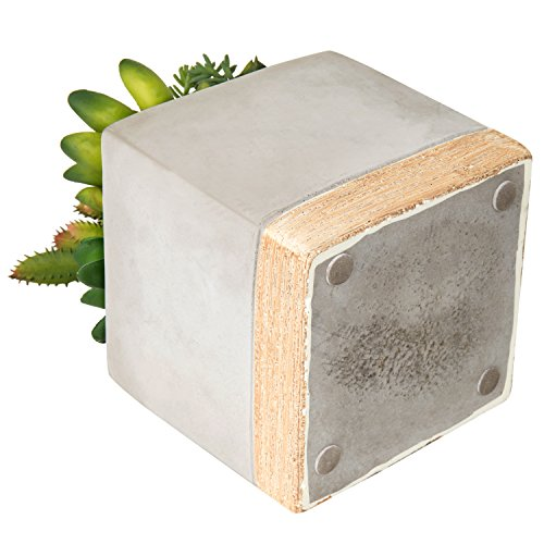 MyGift 9-Inch Artificial Succulent Plant Arrangement in Square Gray Clay Planter by MyGift (Image #3)