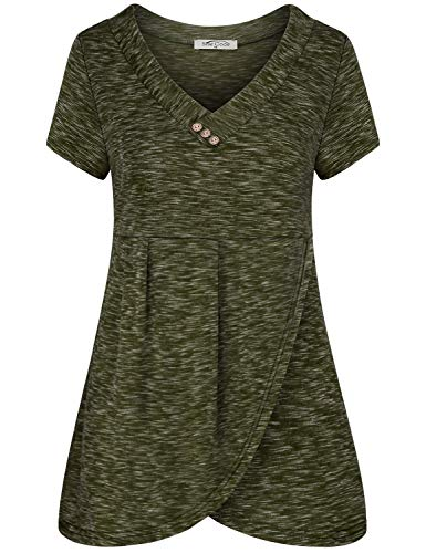 SeSe Code Green Shirts for Women,Casual Tshirts Vneck Loose Flare Tunic Stylish Tops Plain Wrap Hem Wooden Buttons Embellished Travel Style Grey-Green Medium