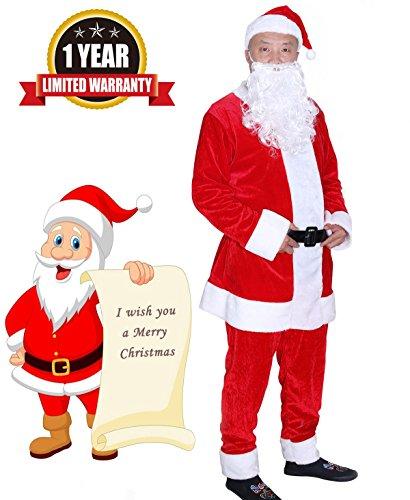 ostume Santa Adult Santa Claus Suit Christmas Suit Costume Deluxe Ultra Velvet Men's Claus Suit, Red, X-Large ()