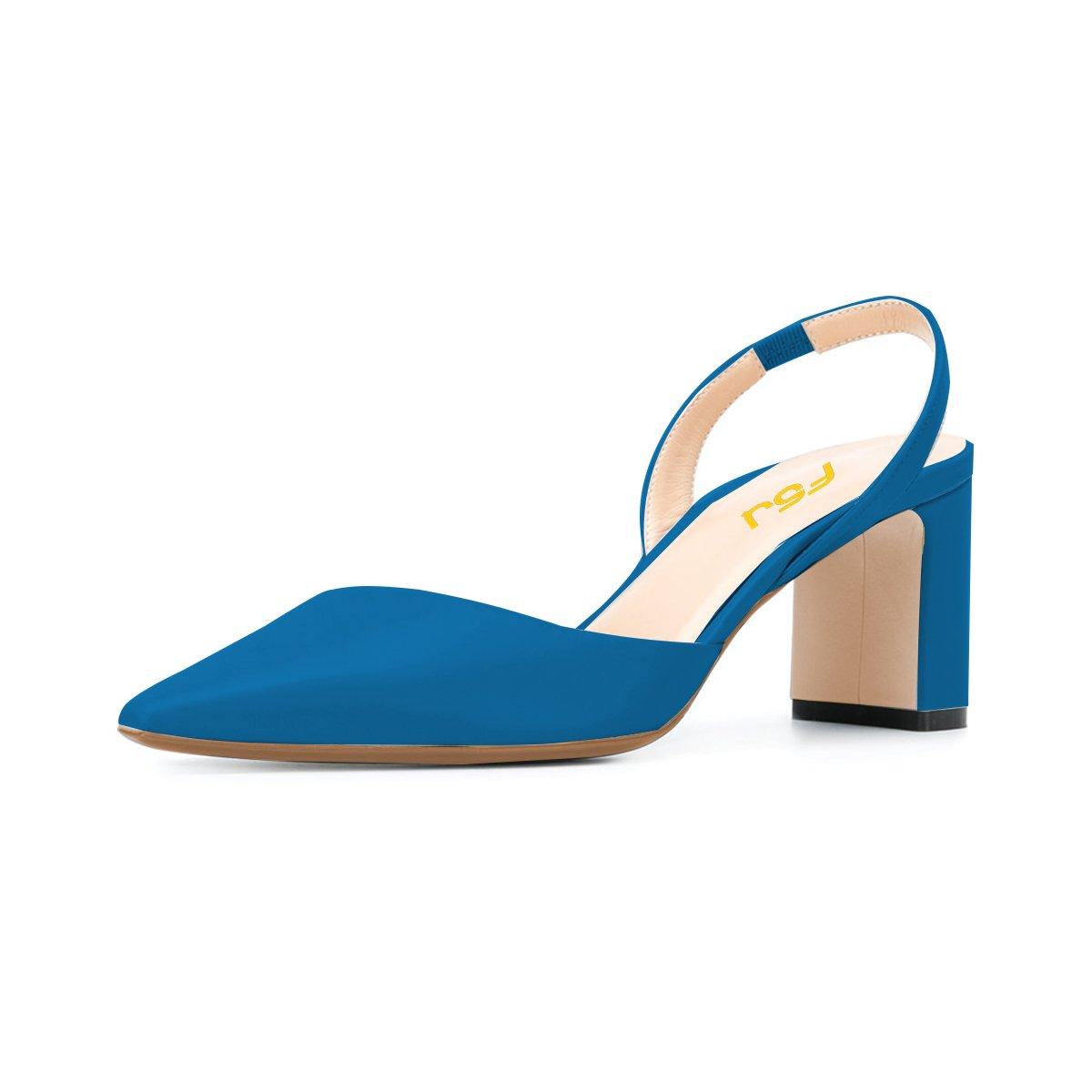 FSJ Women Classic Pointy Toe Pumps Chunky Mid Heels Slingback Sandals Comfortable Shoes Size 4-15 US B07BY1K1JC 7 B(M) US|Blue