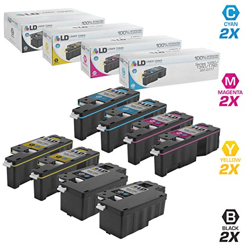 LD Compatible Toner Cartridge Replacement for Dell Color Laser 1250c 1350 1760 High Yield (2 Black, 2 Cyan, 2 Magenta, 2 Yellow, 8-Pack) (Dell Laser Color)