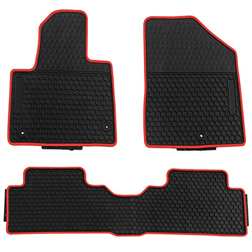(biosp Car Floor Mats for Hyundai Santa fe 2013-2018 Front And Rear Heavy Duty Rubber Liner Set Black Red Vehicle Carpet Custom Fit-All Weather Guard Odorless)