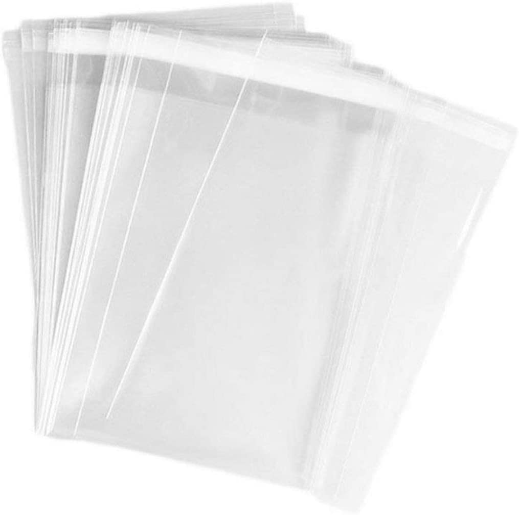5x7 inches Cear Cello/Cellophane Bags With Self Seal Llip Anti Static High Clarity Film For Greeting Cards Photographs Calendars Wallets Food Sample Best Xmas Gift (100pcs)