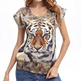 GBSELL Women Summer Fashion Animal Print Short Sleeve Casual T Shirt Tops Blouse (S, tiger)