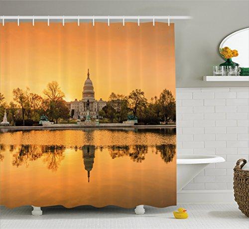 Washington State Shower Curtain (United States Shower Curtain by Ambesonne, Washington DC American Capital City White House above the Lake Landscape, Fabric Bathroom Decor Set with Hooks, 70 Inches, Apricot Ginger)