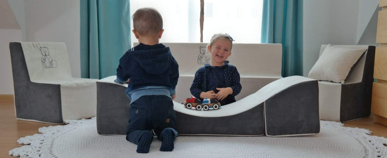 Chaise Longue Velinda Pouf d/épliant Fauteuil 3 en 1: Pouf Couleur: Rouge Table pour Enfants