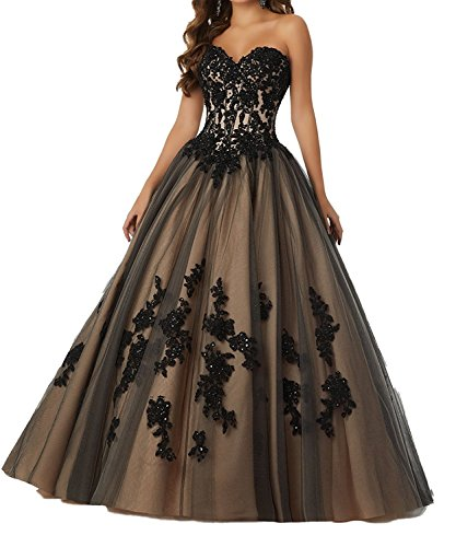 Lily Wedding Women Beaded Princess Quinceanera Dresses 2018 Long Tulle Prom Ball Gowns P194 Size 4 Black by Lily Wedding