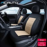 leather seat covers bench seat - PIC AUTO Universal Fit Full Set Mesh and Leather Car Seat Cover(Beige)