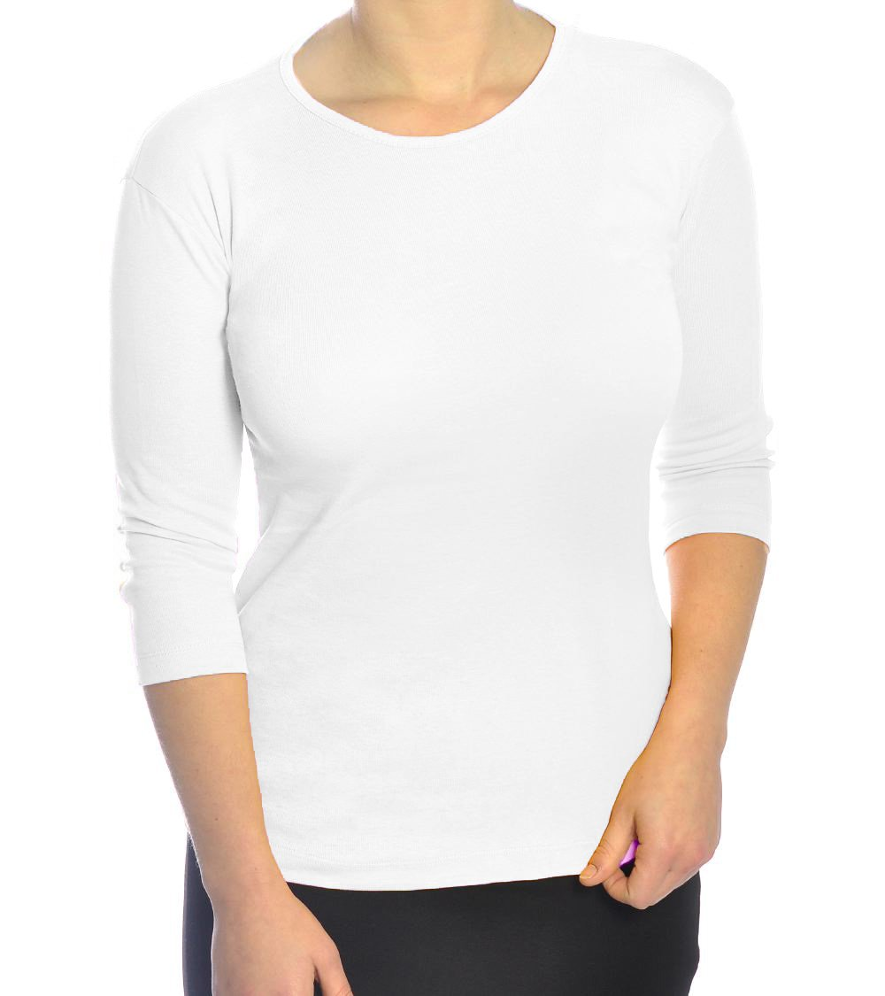 Kosher Casual Big Girl's Modest 3/4 Sleeve 100% Cotton Fine Ribbed Tee Shirt Top Small White