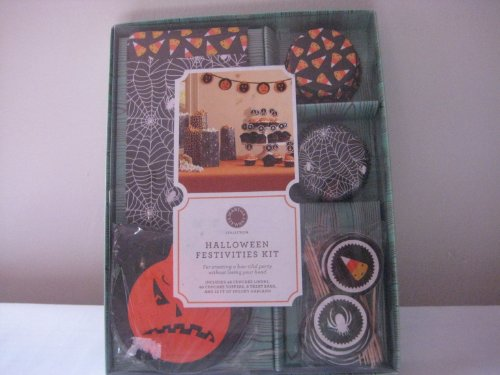 (MARTHA STEWART Halloween Festivities Kit, 48 Cupcake liners, 48 Cupcake Toppers, 8 Treat Bags, 12 FT of Spooky)