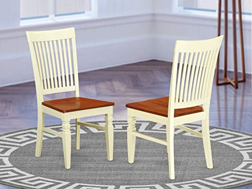 East West Furniture Weston room chairs – Wooden Seat and Buttermilk Real wood Frame country dining chair set of 2