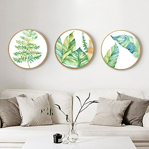 Round Cross Stitch Pattern - Cross stitch kits for plants - Eafior 3PCS/Set DIY Handmade Needlework Embroidery Kits Simple and Modern Round small fresh plants pattern printed design Home Decoration Wall Decor (No frame)